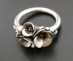 silver poppies ring