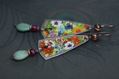 Boho Rustic Floral Tin earrings n1  upcycled tin . by Tribalis
