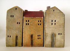 Satz von 3 Keramik Häuser, gemalt mit Acryl-Farben auf Etsy, 55,76€