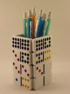 Pen Holder from Dominos / Mahjong Tiles Domino Crafts, Domino Art, Diy Arts And Crafts, Cute Crafts, Crafts To Make, Deco Dyi, Diy With Kids, Pen Holders, Recycled Crafts