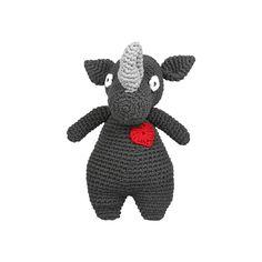 Our lovable Rhino Cuddle. We can custom make it for you in almost any colour. Handmade using Tarn Yarn. Cotton Beanie, Funny Bunnies, Sensory Toys, T Shirt Yarn, Handmade Toys, Cuddle, South Africa, Dinosaur Stuffed Animal, Elephant