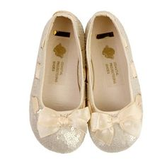 1724feeb868 Coastal Projections Champagne Sequined Flats flower girl shoes Little Girl  Shoes
