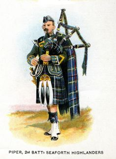 British; Seaforth Highlanders, 2nd Battalion, Piper c.1912 from Bands of the British Army by W.J. Gordon and illustrated by F. Stansell