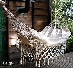 Hammock with macrame fringe