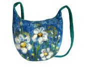 Felted bag floral felt handbag wool  flower flowers petrol blue petrol green white blue boho OOAK