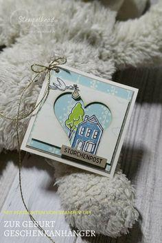 Geschenkanhänger zur Geburt mit dem Stempelset Stadt Land Gruss von Stampin' UP! in Vanille, Savanne, Aquamarin, Limette und Jeansblau