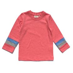 Simple Long Sleeves Tee with striped cuffs - Salmon