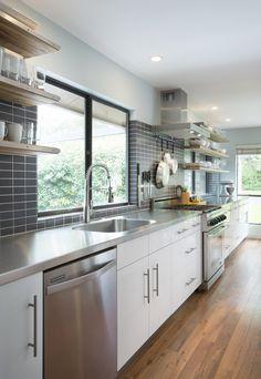 Modern white & grey galley kitchen | Cultivate.com #kitchen