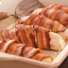 Chicken, cream cheese & bacon roll-ups