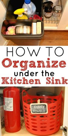These simple tips and tricks will show you how to organize under the kitchen sink while reducing the clutter in your kitchen. Kitchen organization, how to. Organisation Hacks, Storage Organization, Organizing Tips, Storage Ideas, Organising, Kitchen Cabinet Organization, Kitchen Storage, Kitchen Cabinets, Kitchen Sinks