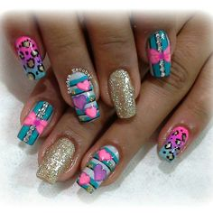 Imagenes Funky Nail Art, Funky Nails, Pretty Nail Art, Dope Nails, Nail Art Diy, Natural Acrylic Nails, Best Acrylic Nails, Cute Acrylic Nails, Boxing Day
