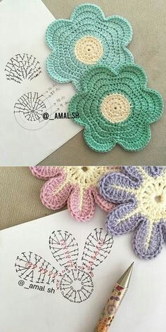 47 ideas for crochet amigurumi flower ganchillo Crochet Coaster Pattern, Crochet Motifs, Crochet Diagram, Crochet Chart, Crochet Squares, Crochet Doilies, Crochet Stitches, Crochet Puff Flower, Crochet Flower Tutorial