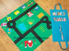 Toy Car Bag- makes a darling homemade gift too! Serger Projects, Sewing Projects For Kids, Sewing For Kids, Sewing Crafts, Crafts For Kids, Homemade Gifts, Diy Gifts, Toddler School, Fabric Toys