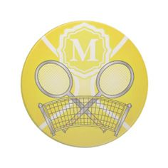 Shop Yellow Monogram Tennis Design Drink Coaster Created By  DesignsbyDonnaSiggy.  Why Is There Fuzz On A Tennis Ball