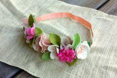 Felt Flower Crown //  Natural Pink  // Birthday by fancyfreefinery, $20.00