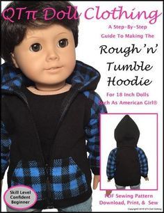 QTPie Rough 'n' Tumble Hoodie Doll Clothes Pattern 18 inch American Girl Dolls | Pixie Faire