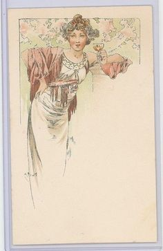 MUCHA-DESIGN FOR A MENU-WEILL# 73-CHAMPENOIS SERIE 5