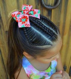 Oh the humidity, it's a whole new challenge for me! Today B wanted a ponytail, I added an infinity and Lace braids with gorgeous bow. Have a sunny day❤️ . Little Girls Ponytail Hairstyles, Little Girl Ponytails, Easy Hairstyles For Kids, Down Hairstyles, Trendy Hairstyles, Toddler Boy Haircuts, Toddler Girl, Hair Doo, Natural Hair Styles