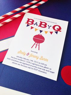 BaBy Q baby shower party collection. couples baby shower invitation. gender neutral. printed and handmade. $16.00, via Etsy.