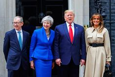 Donald Trump UK visit live: President welcomes Charles and Camilla - BelfastTelegraph.co.uk Donald Y Melania Trump, First Lady Melania Trump, Donald Trump, Theresa May, Duchess Of Cornwall, Duchess Of Cambridge, Recital, Celine, White Evening Gowns