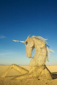 Escaping from the sands of my dreams.  Unicorn art at Burning Man
