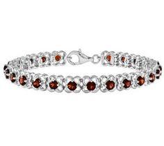 Sterling Choice of Gemstone Flower Tenni s Bracelet - Different Shades Of Red, Just Shop, Garnet Jewelry, My Birthstone, Qvc, Color Change, Birthstones, Beaded Bracelets, Gemstones