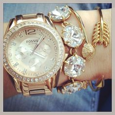 These sparkly Stella & Dot bracelets look great with a bold watch.