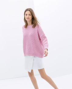 Image 2 of CABLE STITCH OVERSIZE SWEATER from Zara