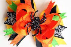 Spider Hair Bow Halloween Green Orange dots by DottedBeeBoutique, $6.99