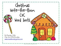 Christmas Write the Room with CVC Word Families-FREE
