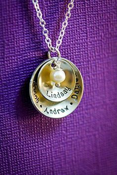 Personalized Name Grandma Necklace  DII  Mom Gift  Handstamped Handmade  58 78 inch Cupped Discs  Custom Birthstone Color  Fast 1 Day Shipping * Click on the image for additional details.Note:It is affiliate link to Amazon. #tflers