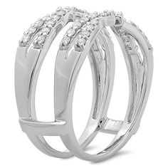 A Very Nice White Gold Plated Cubic Zirconia Diamond Wedding Band Ring Enhancer Ring Enhancer, Jewellery Uk, Jewelry, Gold Plated Rings, Diamond Wedding Bands, Random Things, Plating, White Gold, Engagement Rings