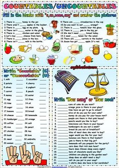 Countables And Uncountables ESL Exercises Worksheet