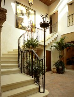 Elegant BHID Foyer with concrete, cantilevered stairs. #interior #decor #stairs