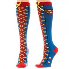 DC Comics Superman Faux Lace Up Costume Knee High Socks @ niftywarehouse.com #NiftyWarehouse #Superman #DC #Comics #ComicBooks