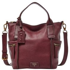 Fossil 'Medium Emerson' Satchel (54.330 HUF) ❤ liked on Polyvore featuring bags, handbags, maroon, fossil satchel, red satchel purse, fossil bags, fossil purses and satchel hand bags