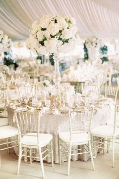 All white wedding color palette