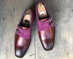 Handmade+Men's+Brown+Formal+Monk+Leather+&+Suede+Stylish+Shoes,+Men+Dress+Shoes  Upper:+Leather+&+Suede  Inner:+Soft+leather  Sole:+Leather  Gender:+Male  Heel:+Leather  Totally+Hand+stitched  Just+send+us+message+if+You+can't+find+your+de. Spiked Leather Jacket, High Leather Boots, High Ankle Boots, Leather Cap, Suede Leather, Soft Leather, Chelsea Shoes, Brown Dress Shoes, Purple Suede
