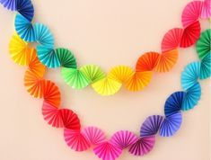 Rainbow Fan Garland {Easy DIY Party Decoration} - Ice Cream Off Paper Plates - - Rainbow fan garland that is so easy to make! You only need scissors, tape and paper to create this colorful DIY decoration for a rainbow theme party . Rainbow Fan, Rainbow Paper, Rainbow Crafts, Rainbow Theme, Diy Simple, Easy Diy, Diy Paper, Paper Crafting, Diy Crafts With Paper