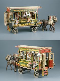 Miniature Wooden Traveling Wagon Toy ) made by Harry Colvin Wolven~Image courtesy New York Historical Society Antique Toys, Vintage Toys, Vintage Antiques, Ceramic Houses, Wood Houses, Dolls House Shop, Fairy Village, Gypsy Wagon, Doll Quilt