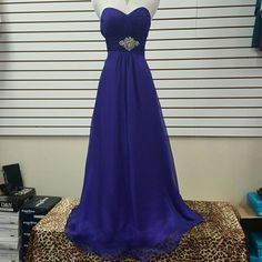 Purple color sweet heart chiffon long dress Formal long purple color chiffon dress empire cut waist with beading in center. Zipper back Aspeed brand. Dresses
