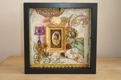Mixed Media Vintage Style Art Collage in Shadowbox by tristanrobin