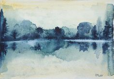 Original watercolour painting Daybreak at the lake