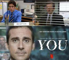 He's watching you. Michael Scott, Best Of The Office, The Office Show, Andy Bernard, Jim Halpert, Stupid Funny Memes, Hilarious, Funny Stuff, Office Jokes