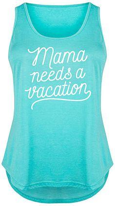 Tahiti Blue 'Mama Needs a Vacation' Tri-Blend Tank - Plus