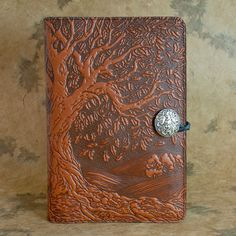 Tree of Life Moleskine Leather Journal Covers with Pewter Clasp by Oberon design.