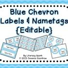 Labels and/or Name Tags - Blue Chevron {Editable}a