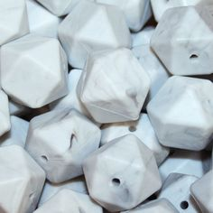 Hexagon Grey Marble Silicone Beads