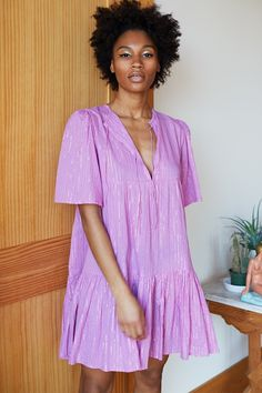 Isla Dress - Pink Lavender Lurex - Emerson Fry