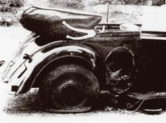A close up of the damage on Heydrichs car after the attack - This Day in History: Operation Anthropoid http://dingeengoete.blogspot.com/